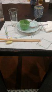 食べ終わってテーブルに並んだからの食器